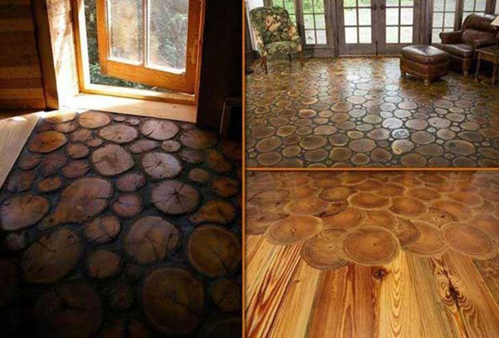 piso de troncos para casa
