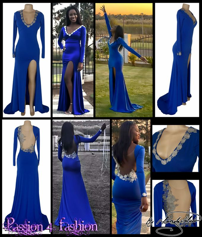 Royal blue and silver matric dance dress. Fitted till the hip and then flowy. With a train, a slit, long sleeves, V neckline and an illusion open back. Detailed with silver lace & breads. One sleeve detailed with silver lace & breads. Matric Dance Dress 2016. Matric Farewell Dress 2016. Prom Dress 2016.