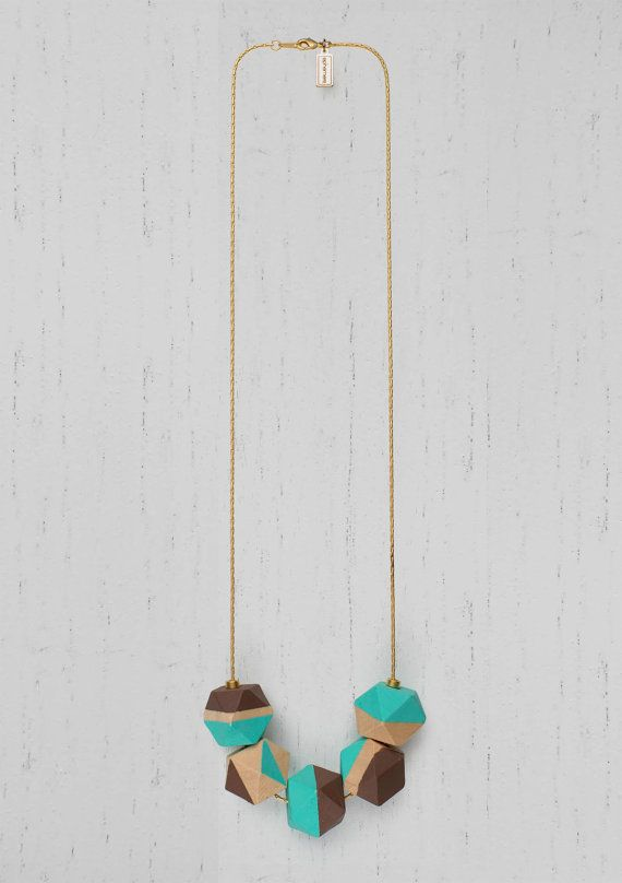 Legno di collana perle geometriche dipinte · catena bagnata in oro opaco di 24Kt · Turchese e cioccolato · minimalista · Design · gioielli