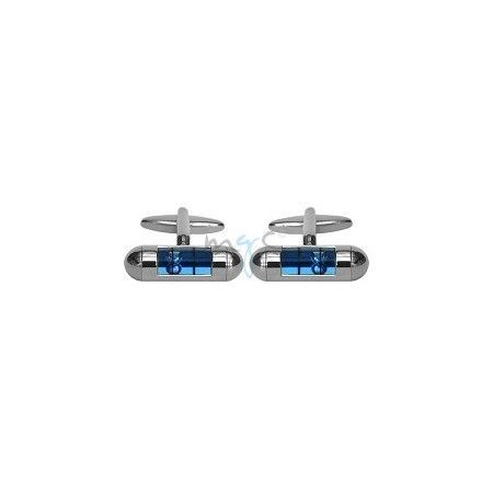 Rhodium Plated Spirit Level Cufflinks - Blue from £21.99