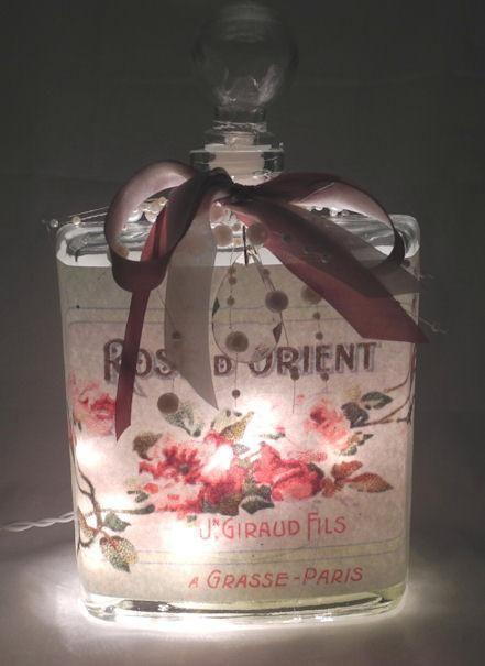 Orient Rose Perfume Bottle Nightlight ( Night Light ) - Roses And Teacups
