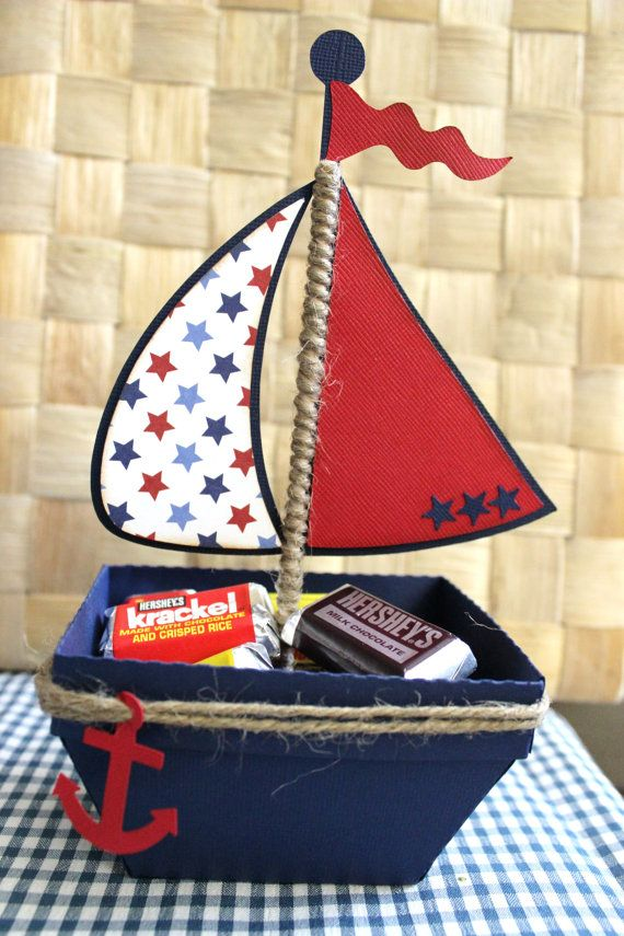 Boat Nautical Favor Box Treat Box Set Of by PaperletteDesigns