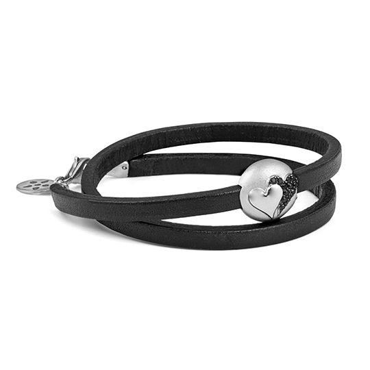 ByBiehl black leather bracelet with 'Unity' silver pod