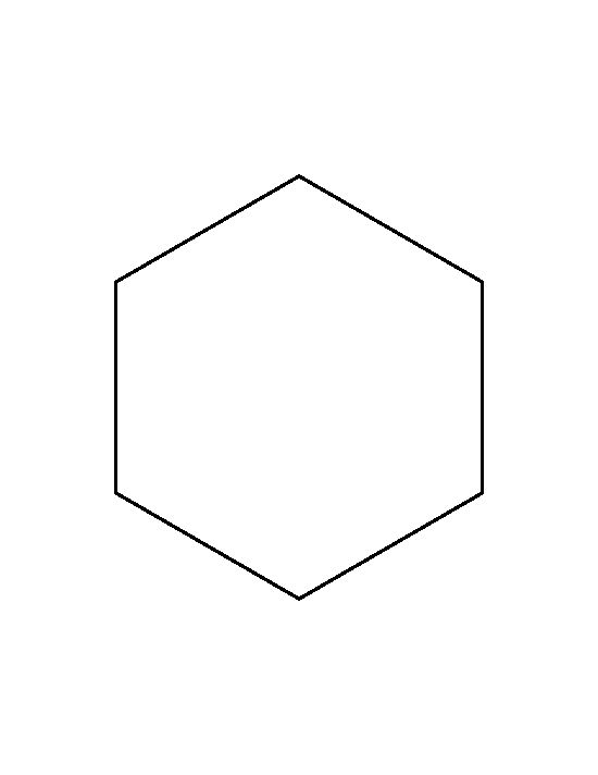 6 inch hexagon pattern. Use the printable outline for crafts, creating stencils, scrapbooking, and more. Free PDF template to download and print at http://patternuniverse.com/download/6-inch-hexagon-pattern/