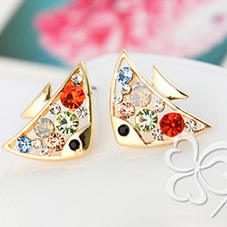 Korejština Příslušenství Temperament Hravý Roztomilý Diamant Ryba Náušnice Náušnice Náušnice