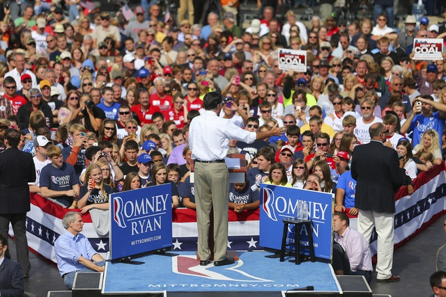 112 10/16/12 Republican presidential candidate Mitt Romney speaks during a campaign event at Shawnee State University in Portsmouth, Ohio, on Oct. 13, 2012.