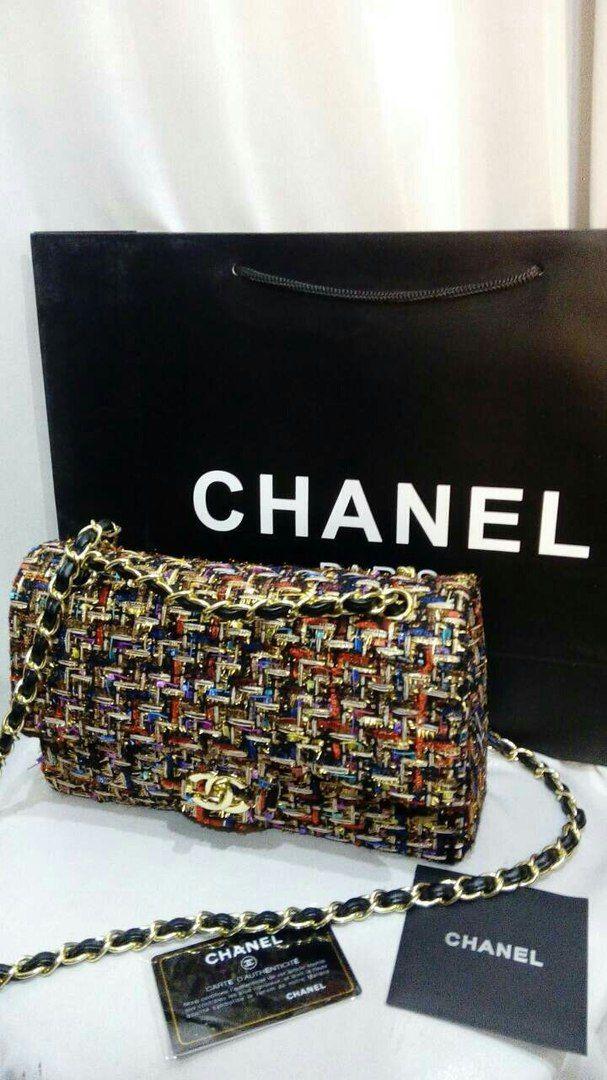Клатч сумка Шанель классическая chanel ткань твид