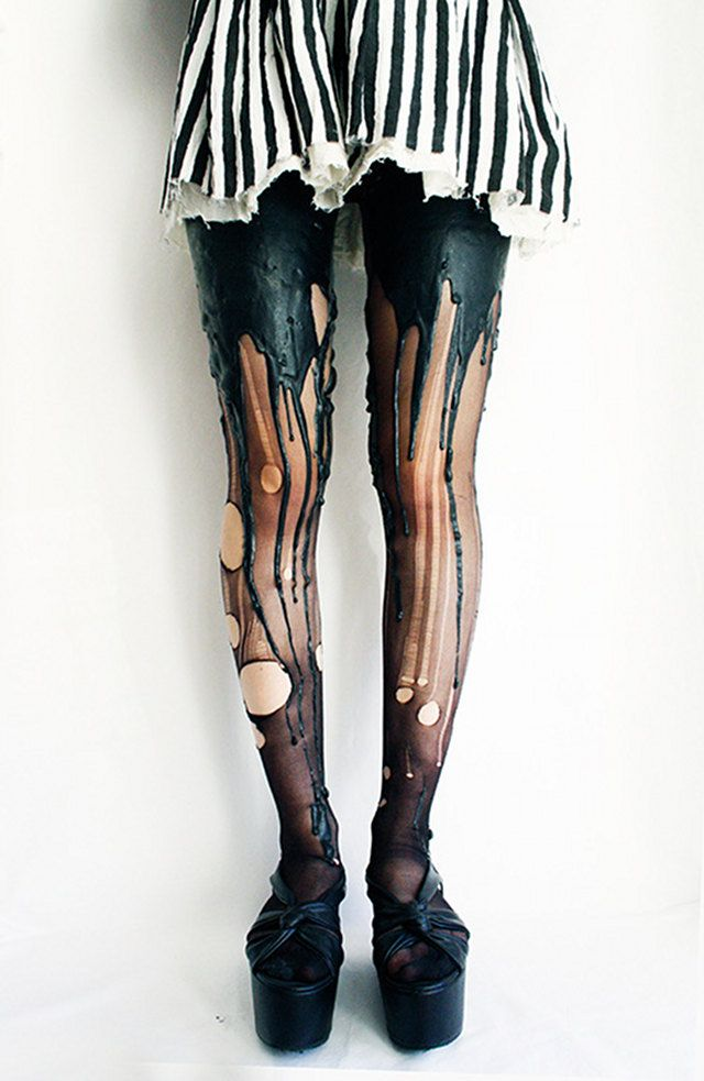 ♥Weird Melting Leg/Dripping Paint Tights.. I'm so gonna DIY a pair of these with black latex! • Wear a G string • Shaved legs-baby oil legs & butt not much..•Put on Stockings•Paint on Black Latex-wide brush•Blow Dry urself•Powder -dust off excess•Repeat Latex Dry Powder 4/5 Times•Create Drips•Rips•ENJOY! Worth a Try!•HandWash