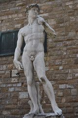 David of Michelangelo. David is a masterpiece of Renaissance sculpture created between 1501 and 1504, by the Italian artist Michelangelo