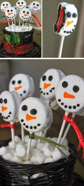Oreo Snowman Pops | Click for 26 Easy Christmas Party Food Ideas for Kids | Easy Holiday Treats for Kids to Make
