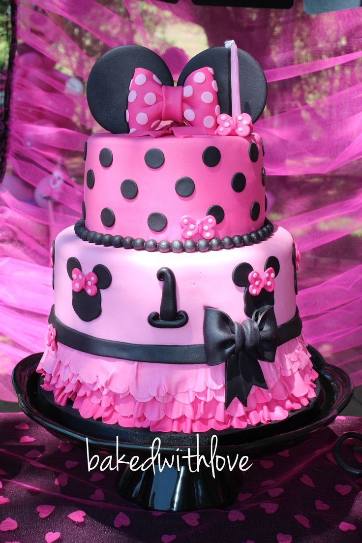 Minnie mouse themed cake - Pink and black  https://www.facebook.com/pages/Baked-with-Love/115563808503000?ref=br_rs