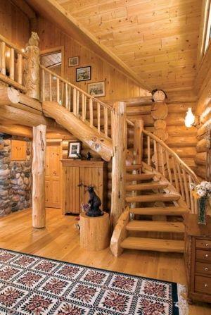 Log home staircase