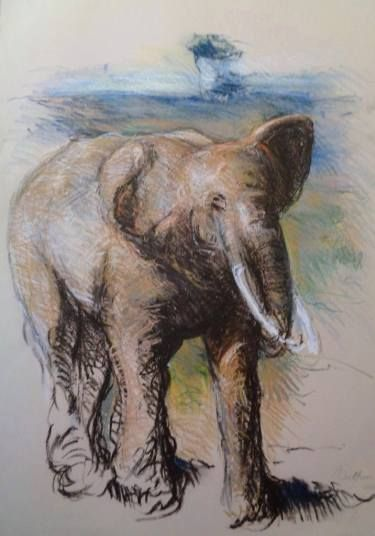"Saatchi Art Artist simone Butturini; Drawing, ""African elephant"" #art"