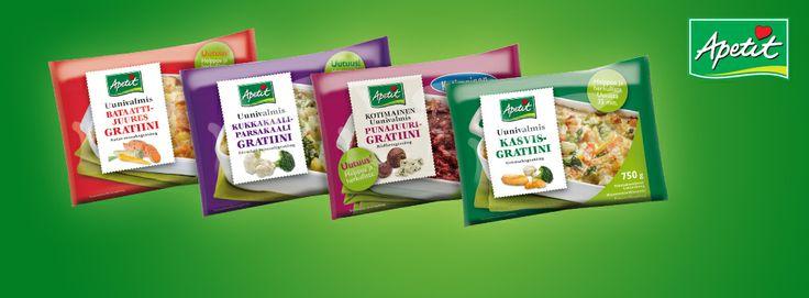 Apetit Uunivalmiit Gratiinit käyvät niin arkeen kuin juhlaan ja sopivat hienosti aterian lisukkeeksi tai kasvisvaihtoehtoehdoksi. Valitse oma suosikkisi neljästä herkullisesta vaihtoehdosta tai tuunaa oma resepti lisäämällä esimerkiksi lihaa, kanaa tai erilaisia juustoja. Tutustu tuotteisiin tarkemmin infosivulla! http://www.hopottajat.fi/apetitgratiinit/ #apetitgratiinit