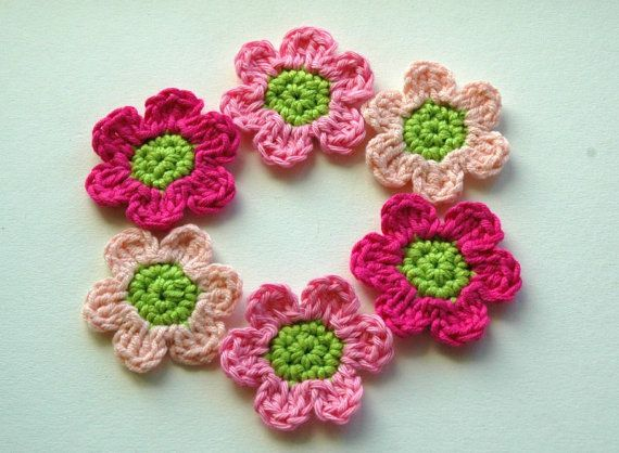 Crochet Flowers in Pink and Lime x 6 by AnnieDesign on Etsy