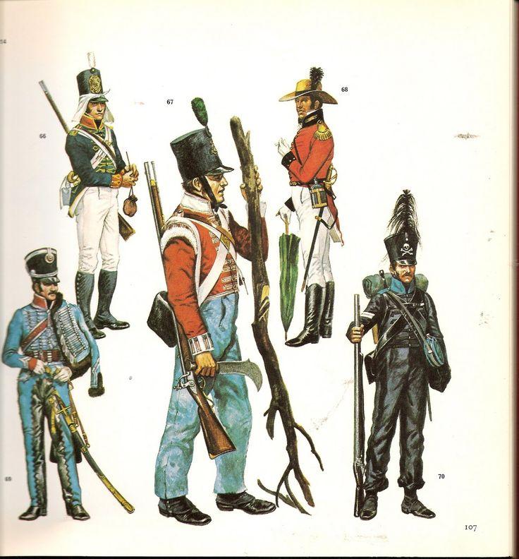"""Artigliere del rgt. """"Royal Artillery"""" inglese,. Fuciliere del 43 rgt. fanteria leggera inglese, xxxxxxxx, brigadiere del 3 rgt. ussari francese e caporale del reggimento cacciatori di Brunswick,"""
