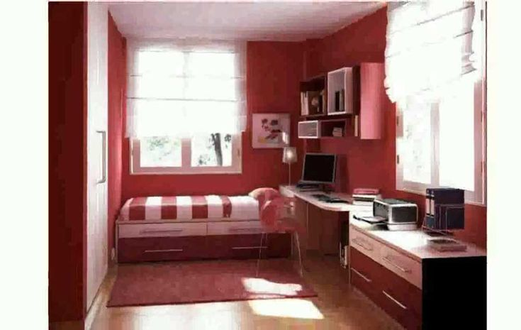 Bedroom Ideas for Small Room with red and ping color also wooden floor