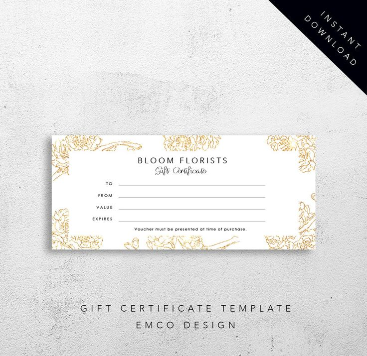 Bloom Gift Certificate Template | Florist Gift Voucher Template | Printable Download by EmandCoDesign on Etsy
