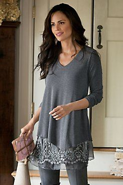 Simply Elegant Sweater  Soft and fluid jersey knit flows to an asymmetrical point hem in this marvelously versatile, easy-to-style, beyond-basic sweater. Wear over our Silk Ro