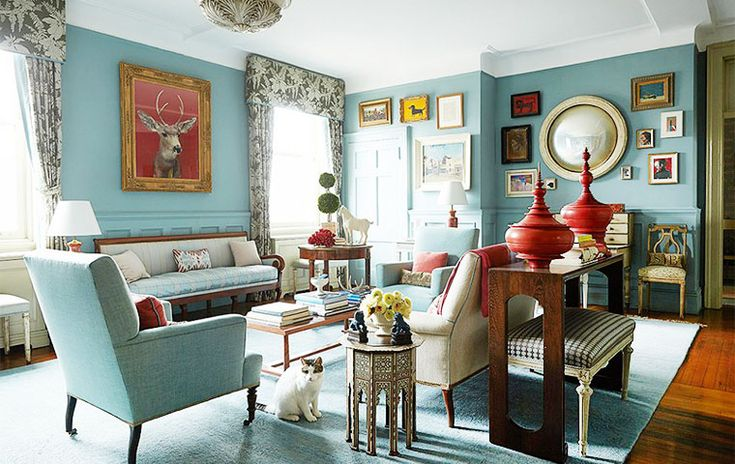 Lovely color accents in this turquoise room. Harlem Furniture   Kathy Kuo Home