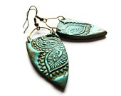 Tribal earrings, olive-teal henna, polymer clay jewelry Christmas in July CIJ10