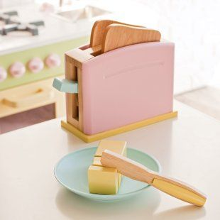 We just love our KidKraft kitchen and wooden appliances. 6 years later and still used by our girls.