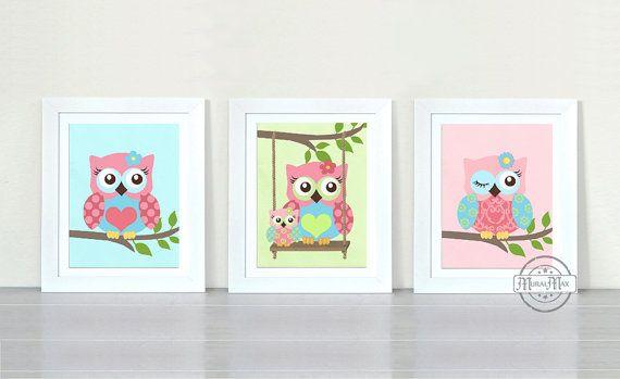 Owl Nursery Decor Owl Print wall art Set of three 8 x by MuralMAX