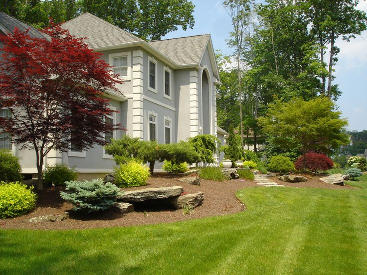 Formal Front Yard Landscaping Ideas Part - 29: Front Of House Landscape In Montebello, NY: This Front Yard Landscaping Is  In Montebello