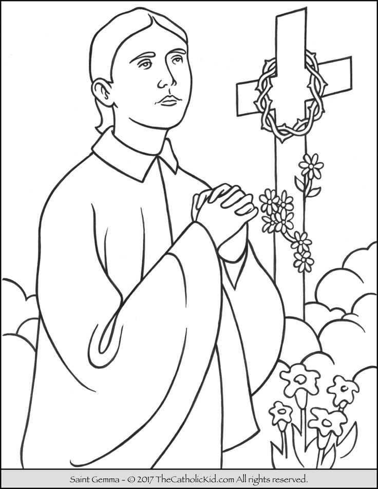 catholic coloring pages of saints - photo#27