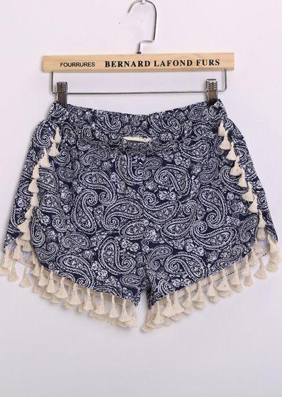 Shorts tótem cintura elástica-azul 12.17