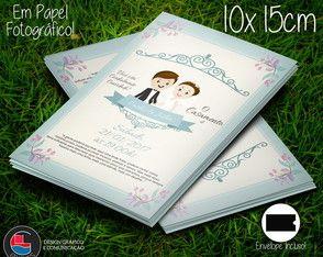 Convite Casamento Floral Blue + Envelope