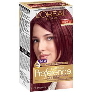 L'Oreal Paris Superior Preference Hair Color, RR04 Warmer Intense Dark Red