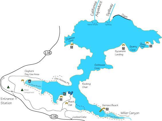 Fishing map of silverwood lake chuck 39 s fishing locations for Lake skinner fishing