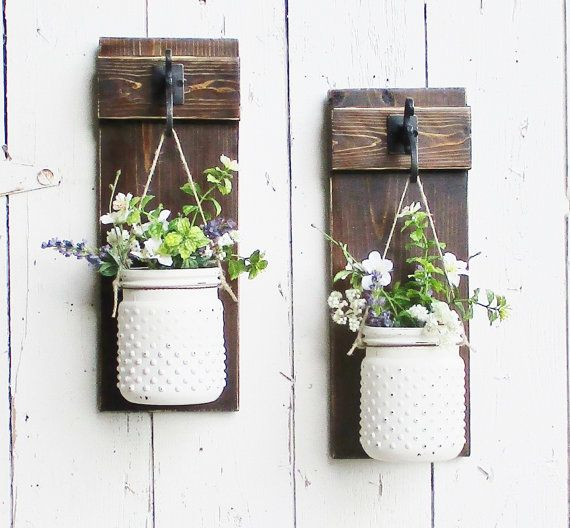 ***THIS IS FOR A SET OF 2 Glass Hobnail Wall Decor.... Please allow 3 weeks for completion prior to shipping.  ****Flowers are not included****  New Rustic Country Wall Decor made of Pine.  2 Beautiful large Hobnail jars in your choice of color or painted. Please select your color from the pull down menu. If you choose painted, please leave me a message regarding your jar color.  Each jar is hung from rusty wire and heavy jute.  Boards are stained in dark walnut and distressed. Jars in photo…