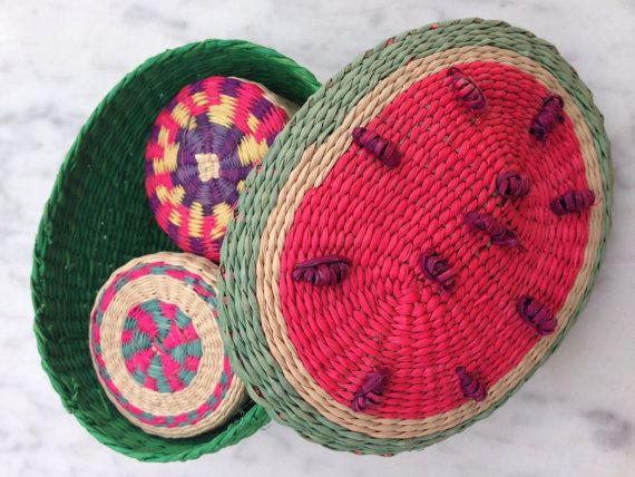Small tropical hand woven nesting baskets Colorful by TocaNycStore, $5.00 https://www.etsy.com/shop/TocaNycStore
