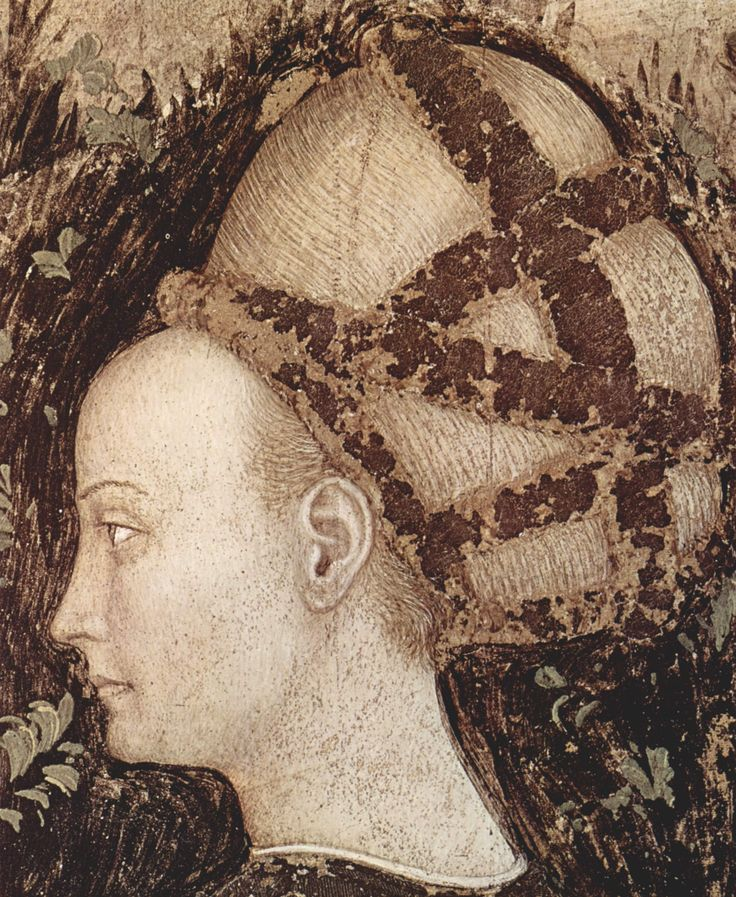 10. Part of the Legend of Saint George by Pizanello Antonio (1436-1438) with a woman wearing her hair in the balzo style
