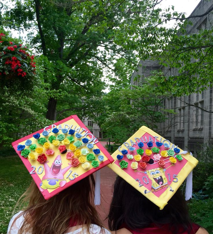 Graduation Rainbow Instead of Imagination Rainbow From SpongeBob Episode. Best friend/Roommate Cap Designs.