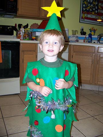 Crafty mama: Alison from Phoenix, Arizona, mom to Dylan                 Time to make: Ninety minutes                 Stuff you have: Chalk, scissors                 Stuff you need: Large piece of green felt, squares of felt in various colors, craft glue, party hat, glittery pom-poms, silver tinsel, green long-sleeved T-shirt, brown sweat pants, ribbon                 How to make it: Fold felt in half. Hold it up to your child to figure out how long it needs to be to cover his front and back…