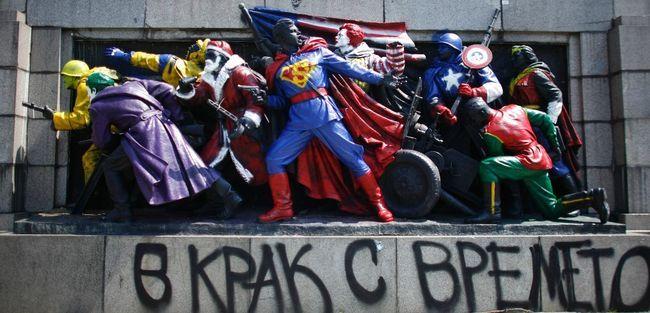 SOVIET ARMY MONUMENT TRANSFORMED INTO SUPERHEROES: Street Artists, Soviet Army, Armies, Red Army, Superheroes, Army Monuments, Ronald Mcdonald'S, Sofia Bulgaria, Streetart