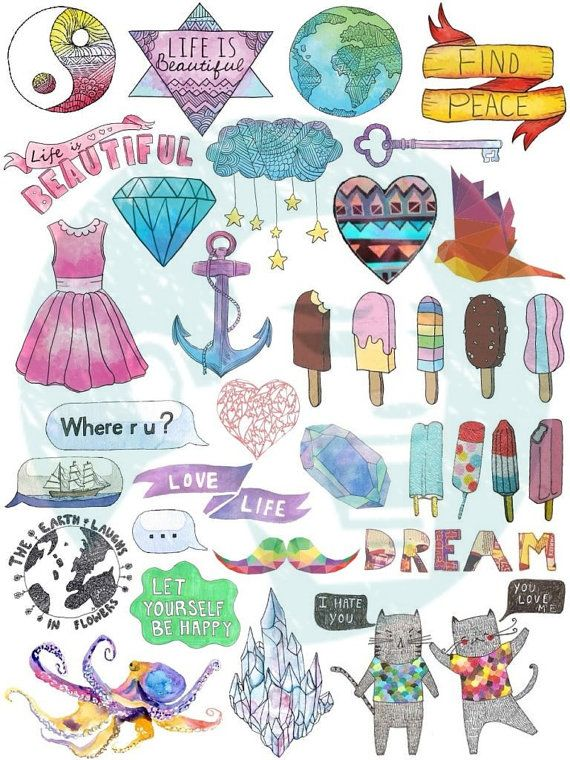 Set 40. Tumblr Stickers. Stickers. Set of by BestStickersClub