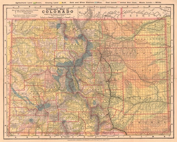 """Map Antique. Economic Map of Colorado. Denver, Texas & Ft. Worth R.R., Matthews-Northrup & Co. c1886.  """"issued by the Chamber of Commerce Denver."""""""