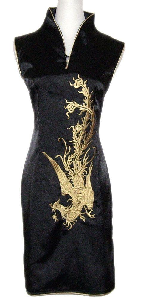 Robe tunique chinoise noire et phénix sans manches sur La Cité Interdite