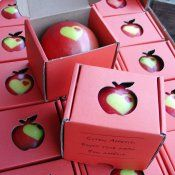 Herzapfel in kleiner roter Apfelbox