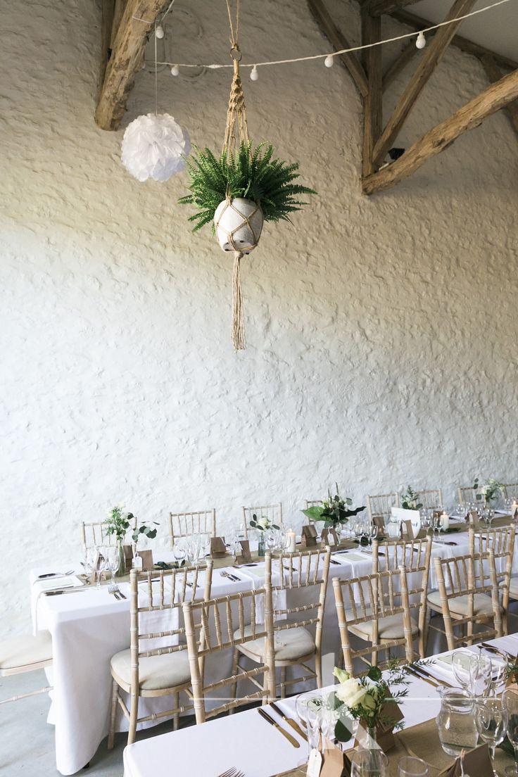 Hanging macramé plants barn wedding decor