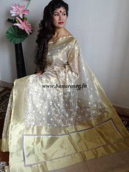 Banarasee/Banarasee Handwoven Tissue Saree-Beige & Gold