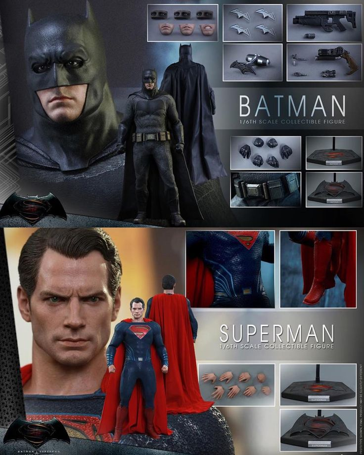 Hot Toys revealed their first 1/6th-scale action figures of Batman and Superman from 'Batman v Superman: Dawn of Justice' - The Superman figure features a new head sculpt four pairs of interchangeable palms and a Batman v Superman-themed display stand. A limited edition available in select markets comes with LED light-up Kryptonite. The Batman figure meanwhile boasts three interchangeable eye pieces and lower faces assorted Bat-gadgets four interchangeable palms and a display stand. The…