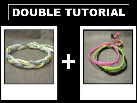 ► Friendship Bracelet Tutorial 24 - Intermediate - Thin Multicolor Bands & 'Sailors Knot' Braid