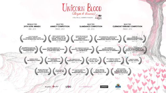 Sangre De Unicornio (Unicorn Blood)  Subtitled in English and French.  Dos ositos salen a cazar unicornios, su presa predilecta. Los unicornios tienen una carne suave y una deliciosa sangre con sabor a arándanos que los ositos necesitan para mantenerse bellos.