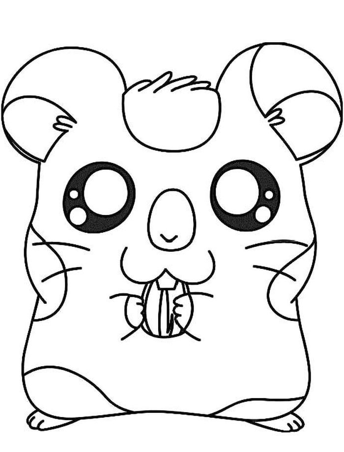 Cute Hamster Free Printable Coloring Pages In 2020 Animal Coloring Pages Cute Coloring Pages Hamtaro