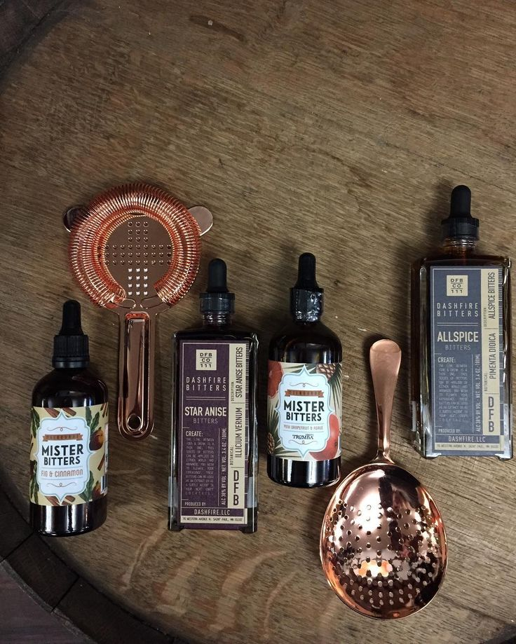 New • Copper Plated Julep And Baron Strainers • Mister Bitters In Fig & Cinnamon And Pink Grapefruit & Agave • Dashfire Bitters In Star Anise And Allspice •